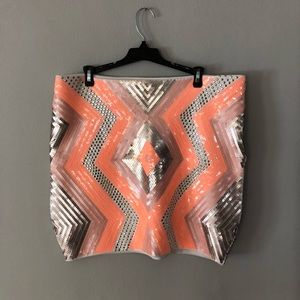 Bebe sequin geometric skirt size xl